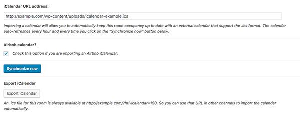 iCalendar Importer/Exporter - Room settings