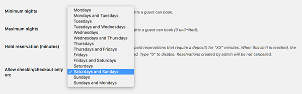 Week Bookings - Settings